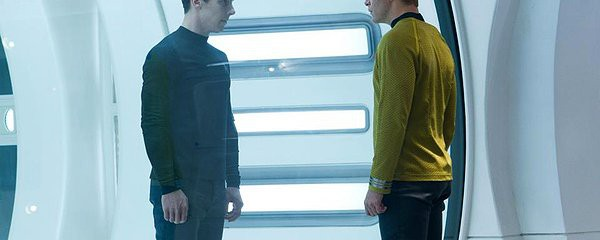 Benedict Cumberbatch and Chris Pine in Star Trek: Into Darkness