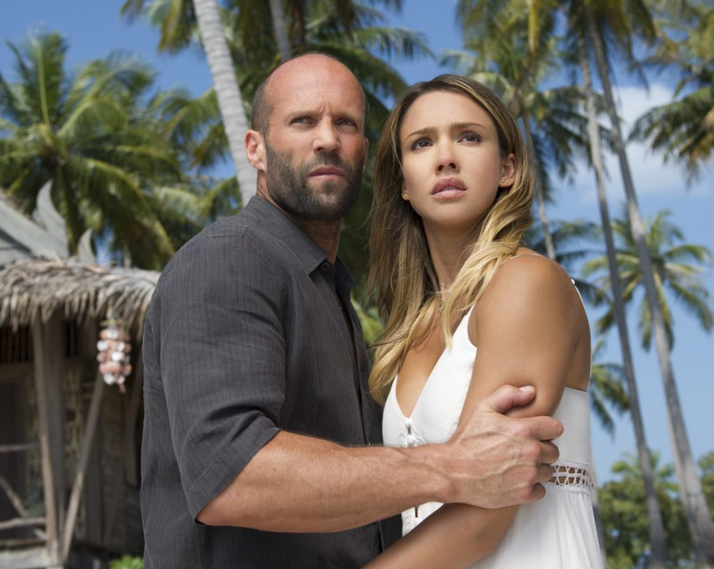 Jason Statham and Jessica Alba in Mechanic: Resurrection